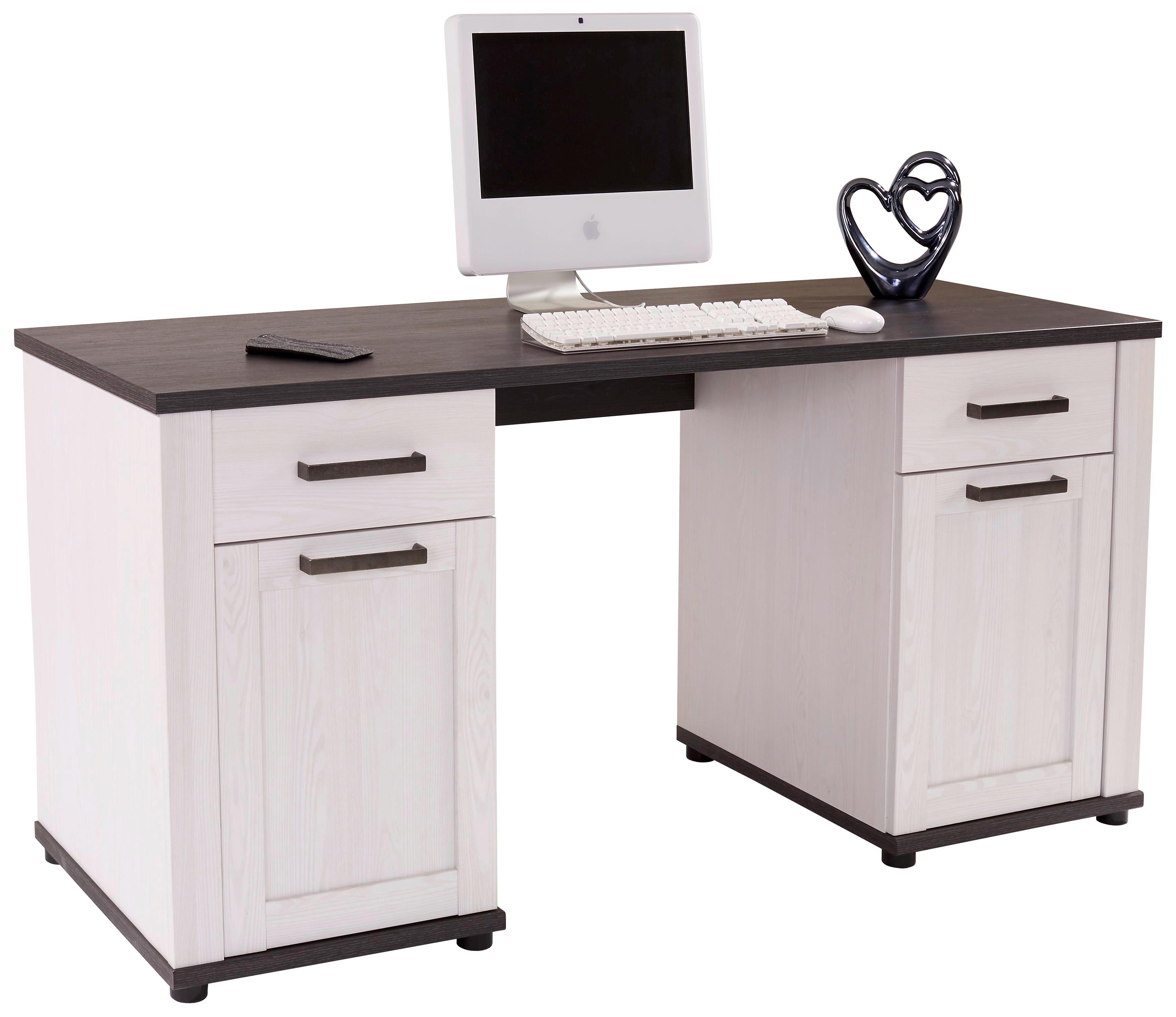 Íróasztal Provence - vörösfenyő szín/fehér, modern, faanyagok (162/75/60cm)