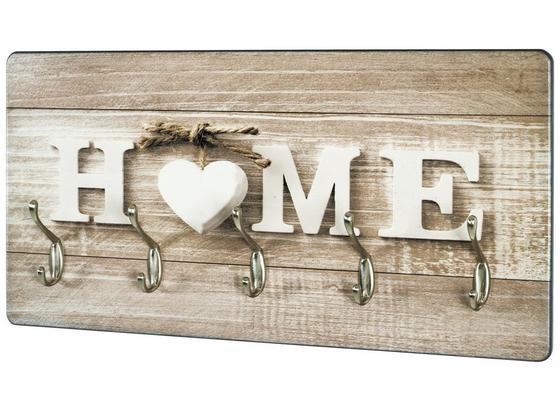 Lišta S Háčky Home 2 18891 - přírodní barvy/barvy nerez oceli, Moderní, kompozitní dřevo (60/30/8cm)
