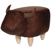 Tier Hocker Bull - Naturfarben/Braun, Design, Holz/Textil (61/28,5/23,5cm)
