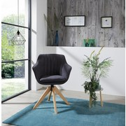 Drehstuhl Belluno Anthrazit 2er Set - Eichefarben/Anthrazit, MODERN, Holz/Textil (60/88/57,5cm) - Luca Bessoni