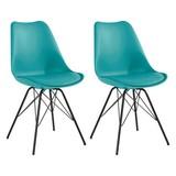 Stuhl-Set Ursel 2-er Set Mintgrün - Schwarz/Mintgrün, MODERN, Kunststoff/Metall (48/86/56cm) - MID.YOU