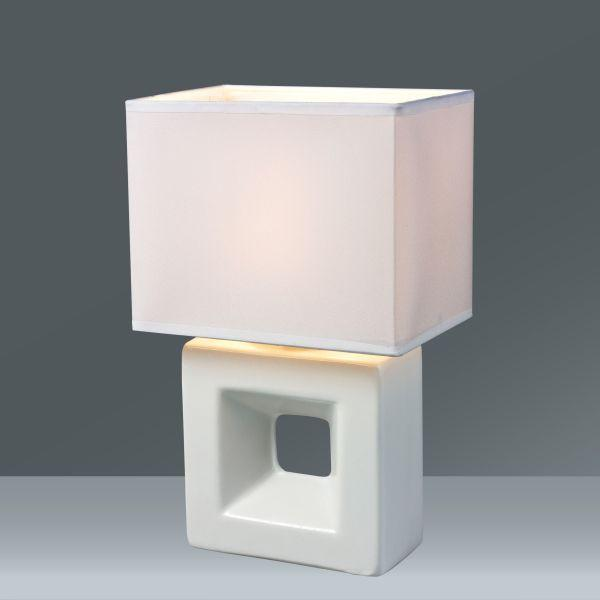 Lampa Stolní Quadro - bílá, textil/keramika (17/12/28cm) - MÖMAX modern living