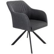 Stuhl Sevilla Dunkelgrau - Dunkelgrau/Schwarz, MODERN, Textil/Metall (56/82/62,5cm) - Ombra