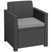 Loungegarnitur Merano 4-teilig inkl. Sitzkissen - Graphitfarben, MODERN, Kunststoff/Textil - Allibert