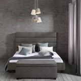 Čalouněná Postel Millie - tmavě šedá, Moderní, dřevo/textil (197/131/233cm)