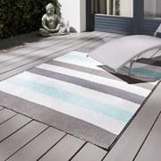 Venkovní Koberec Stripe - bílá/modrá, Moderní, textil (120/170cm) - MÖMAX modern living