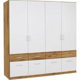 Kleiderschrank Aalen Extra B:181cm Weiß/eiche Wotan Dekor - Eichefarben/Weiß, KONVENTIONELL, Glas/Holzwerkstoff (181/197/54cm)