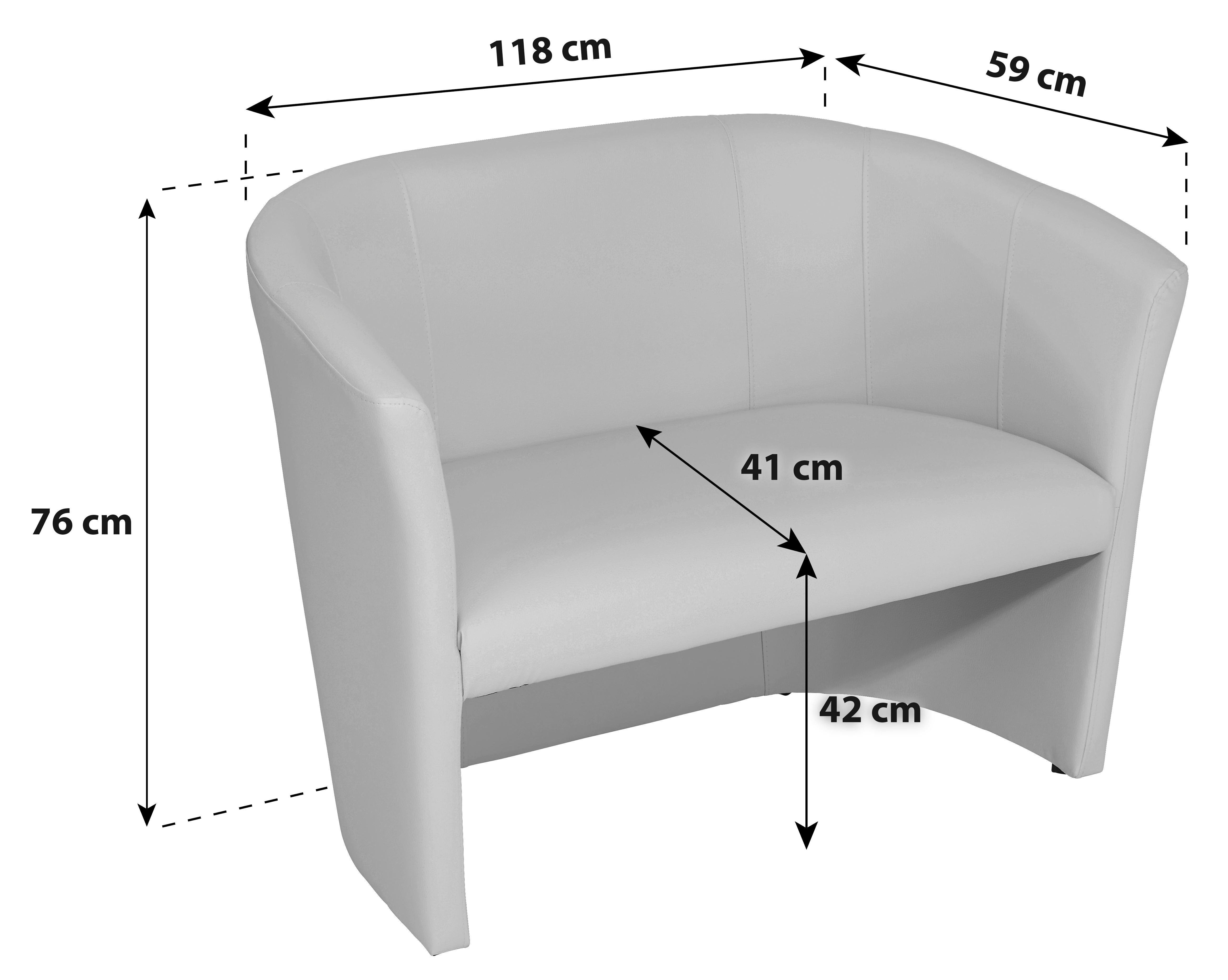 2-üléses Hugo Duo - fehér, modern, textil (118/76/59cm) - OMBRA