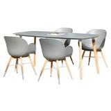 Gartenmöbel Set 5-Tlg. Teak aus Teakholz und Kunststoff - Grau/Teakfarben, MODERN, Glas/Holz