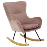 Schaukelstuhl Rocking Scandi B: 75 cm Pink - Pink/Schwarz, MODERN, Holz/Textil (75/102/80cm) - MID.YOU