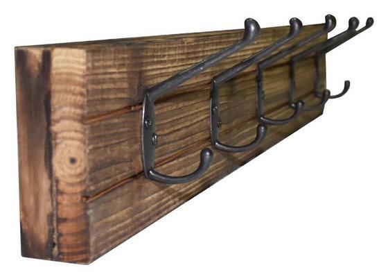 Hakenleiste Elli 2 - Dunkelbraun/Schwarz, MODERN, Holz/Metall (60/10/9cm)