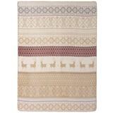 Wohndecke Jaquard - Rot/Creme, MODERN, Textil (150/200cm)