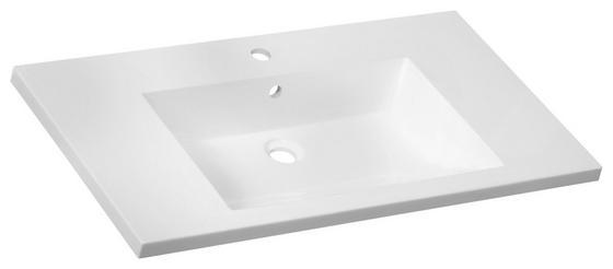 Waschbecken Erwan 90cm Weiss - Weiß, KONVENTIONELL, Keramik (90/14/50cm)