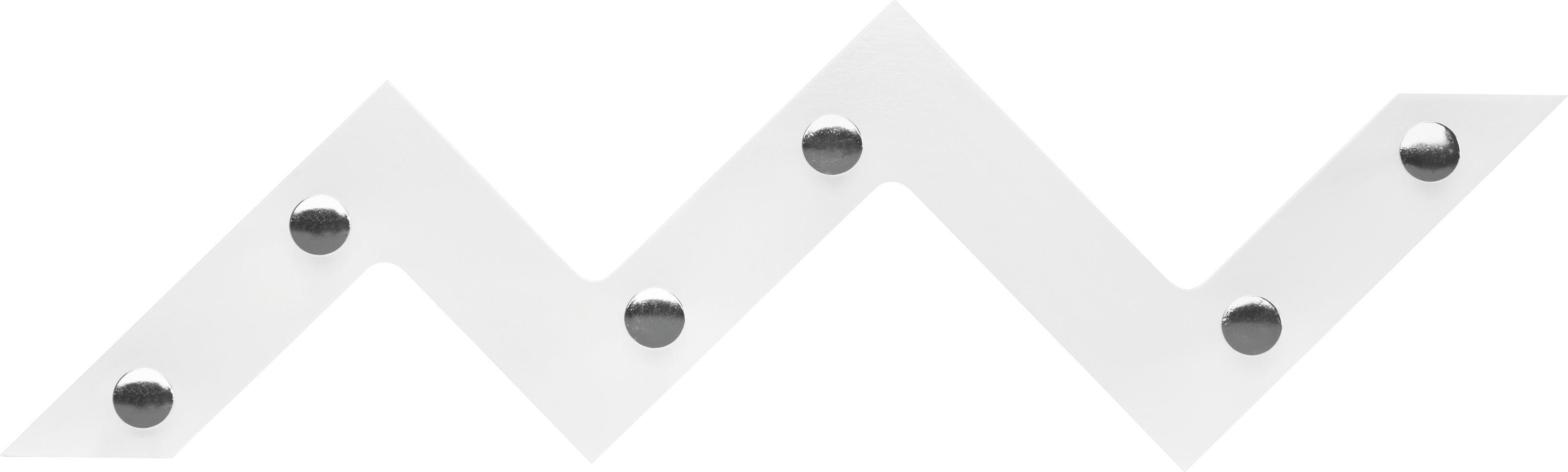 Fali Akasztó Walter 6 - krómszínű/fehér, modern, fém/faanyagok (56/34/3cm) - MÖBELIX