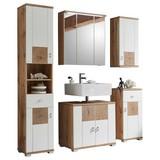 Badmöbel-Set 5-Tlg. inkl. Led, Spalt B: 146cm, Eiche + Weiß - Eichefarben/Weiß, Design, Glas/Holzwerkstoff (146/190/40cm) - Xora