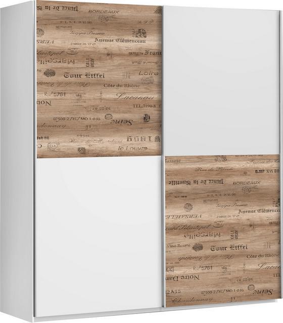 Skriňa S Posuvnými Dvermi Express - farby dubu/sivá, Štýlový, umelá hmota/kov (170/191/61cm)