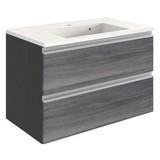 Waschtischkombi mit Soft-Close Arezzo B: 80cm, Graphit - Graphitfarben/Weiß, Basics, Holzwerkstoff/Stein (80/54/47cm) - Livetastic