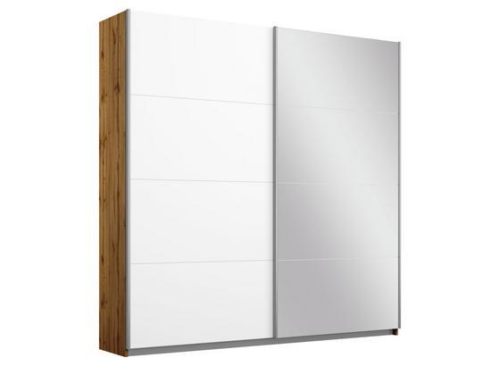 Schwebetürenschrank Belluno B:181cm Wotan/Weiß/spiegel - Eichefarben/Weiß, MODERN, Holzwerkstoff (181/210/62cm)