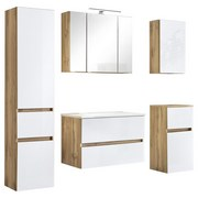 Badmöbel-Set 5-Tlg. inkl. Led Helsinki, Weiß/Eiche - Eichefarben/Weiß, KONVENTIONELL, Glas/Holzwerkstoff (160ml) - MID.YOU