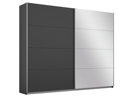 Schwebetürenschrank Belluno B:226cm Grau Dekor/ Spiegel - Dunkelgrau, MODERN, Holzwerkstoff (226/210/62cm)