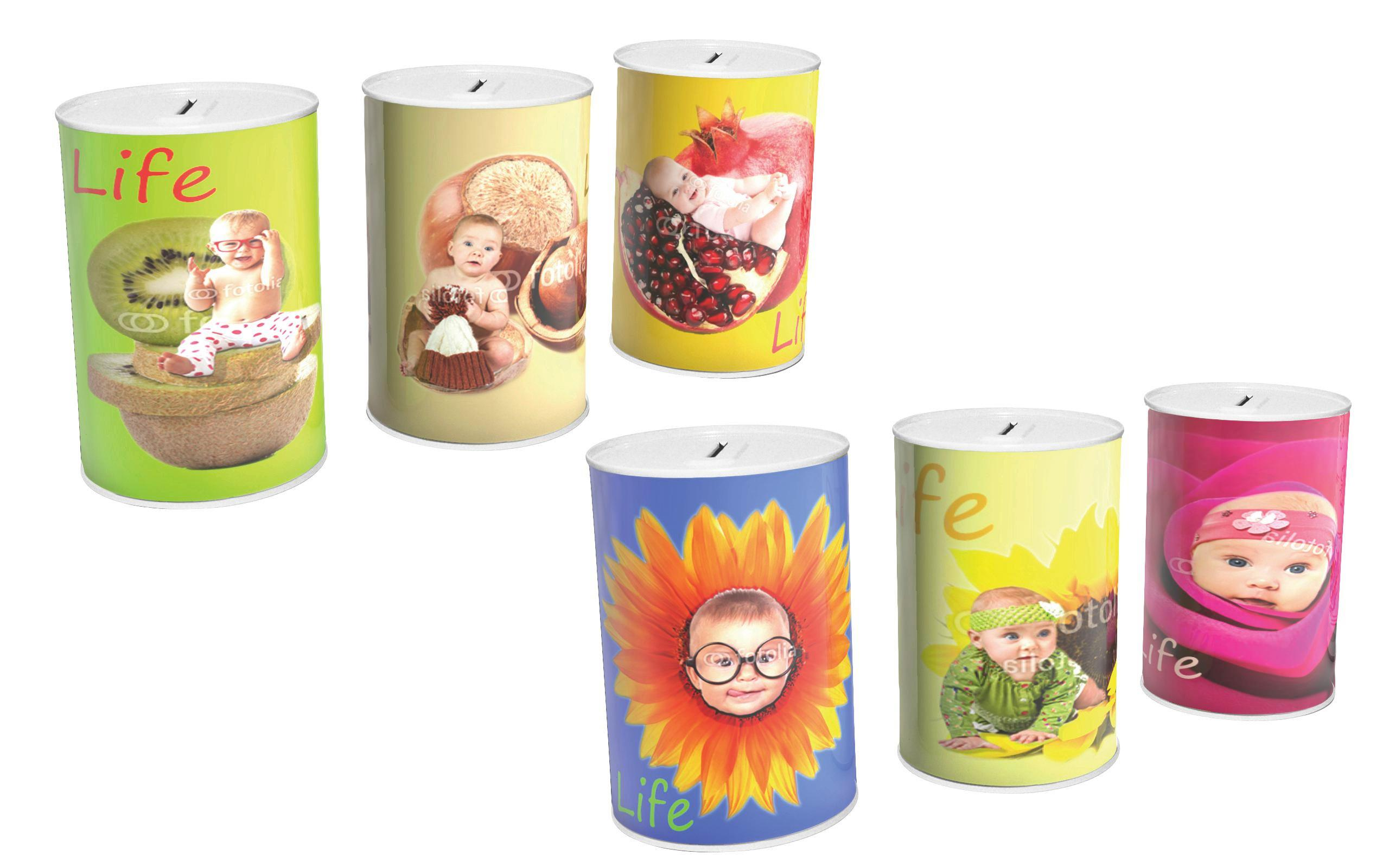 Spardose Verschiedene Designs - Multicolor, KONVENTIONELL, Metall (11/14,5cm)