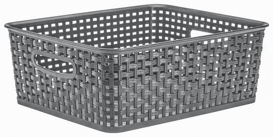 Aufbewahrungskörbchen Rattan 10 Liter - Grau, KONVENTIONELL, Kunststoff (35,5/29/13cm) - Plast 1