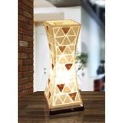Tischlampe Bali Naturfarben/ Weiß mit Dreiecksmuster - Naturfarben/Weiß, Basics, Naturmaterialien/Textil (21/21/51cm)