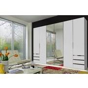 Drehtürenschrank Level 36a B:300cm Weiß Dekor/ Spiegel - Weiß, MODERN, Glas/Holzwerkstoff (300/216/58cm)