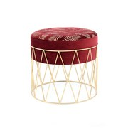 Hocker Cleopatra Bordeaux/Gold - Bordeaux/Goldfarben, Basics, Kunststoff/Textil (40/37/40cm)