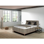 Polsterbett Lasse 180x200 cm Beige - Eichefarben/Beige, MODERN, Holz/Kunststoff (180/200cm) - Carryhome