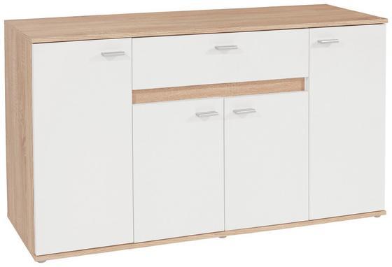 Kommode B:160cm Sonoma Eiche/Weiß Dekor - Silberfarben/Weiß, MODERN, Holzwerkstoff (160,2/79,9/35cm)