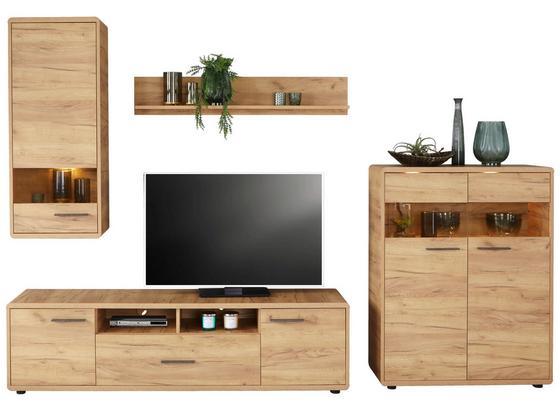 Obývacia Stena Fontana - farby dubu, Moderný, kompozitné drevo/sklo (300/198/40cm)