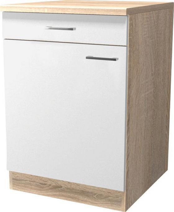 Spodná Kuchynská Skrinka Samoa  Us 60 - farby dubu/biela, Konvenčný, drevený materiál (60/85/57cm)