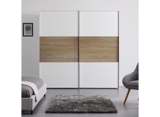 Schwebetürenschrank 225 cm Includo - Eichefarben/Weiß, MODERN, Holzwerkstoff (225/222/68cm)