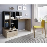 Schreibtisch mit Stauraum B 145 Paco, Eiche/Anthrazit - Eichefarben/Anthrazit, Basics, Holzwerkstoff (145/111,6/51,6cm)