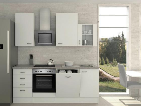 Küchenblock Wito 220cm Weiß - Weiß/Grau, MODERN, Holzwerkstoff (220/230/60cm)