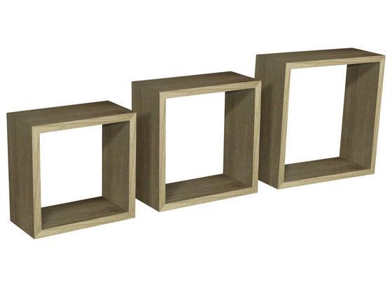 Hängeregal Simple 30x30cm 3-teilig, Sonoma Eiche Dekor - Eichefarben, MODERN, Holzwerkstoff/Kunststoff (30/30/12cm)