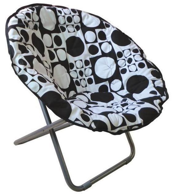 Összecsukható Fotel Papa Sam - Fehér/Fekete, modern, Fém/Textil (86/80/65cm)