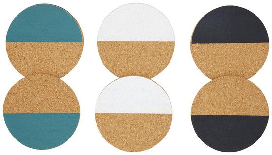 Podložka Agnes - bílá/petrolej, dřevo (10/0,5cm) - Mömax modern living