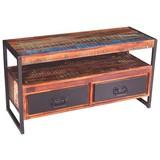 Lowboard Faro B: 107 cm Recyclingholz - Multicolor/Schwarz, Basics, Holz/Metall (107/56/40cm)