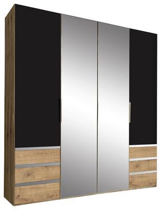 Viertüriger Schrank in Eiche Dekor und Graphit mit Spiegel
