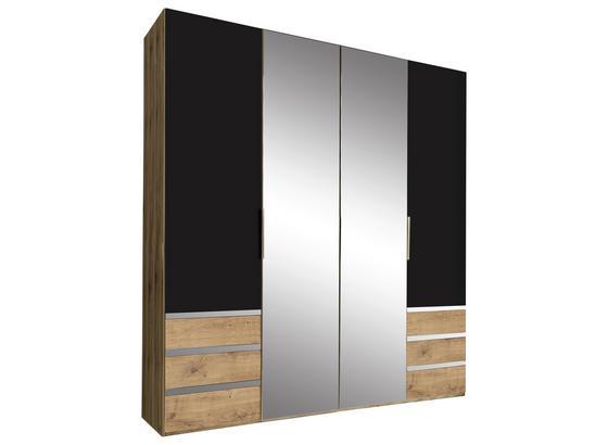 Drehtürenschrank mit Spiegel 200cm Level 36a, Graphit Dekor - Eichefarben/Graphitfarben, MODERN, Glas/Holzwerkstoff (200/216/58cm)