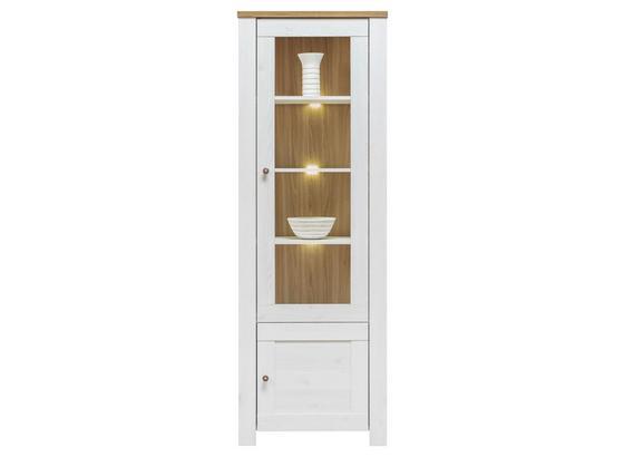 Vitrína Noto - biela, Romantický / Vidiecky, drevo (68,5/198/40cm)