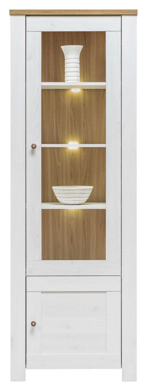 Vitrína Noto - bílá, Romantický / Rustikální, dřevo (68,5/198/40cm)