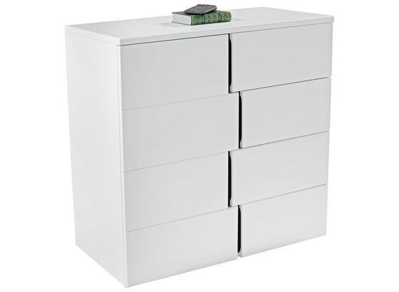 Kommode grifflos B 100cm Split, Weiß/Schwarz - Alufarben/Schwarz, MODERN, Holzwerkstoff (100/90/42cm)