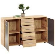 Komoda Uno Unk02 - farby dubu/sivá, Moderný, drevený materiál (140/80/40cm)