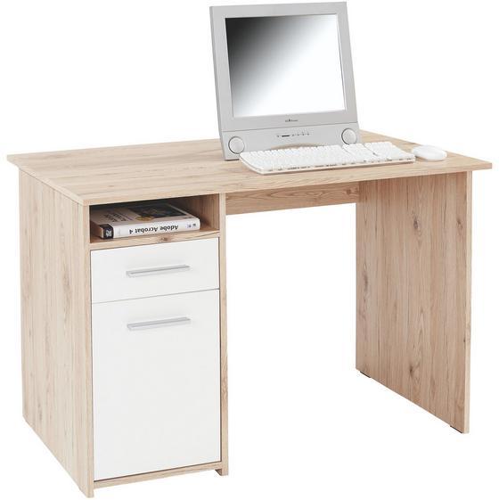 Písací Stôl Palermo - farby dubu/biela, Moderný, drevený materiál (110/74/60cm)