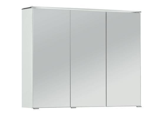 Spiegelschrank mit Led + Türendämpfer B: 90cm Weiß - Weiß, MODERN, Glas/Holzwerkstoff (90/72/18cm)