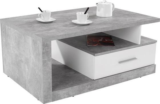 Dohányzóasztal Iguan - Szürke/Fehér, modern, Faalapú anyag (110/45/67cm)