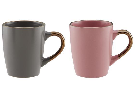 Hrnek Na Kávu Maisie - šedá/růžová, Moderní, keramika (9/10cm)